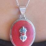 Tibetan Buddhist Silver Oval Coral Vajra Dorje Necklace