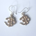 Medium Tibetan Buddhist OM Sterling Silver Earrings