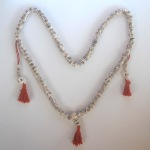 Tibetan Buddhist Etched Design Meditation Mala Bead Necklace w/ Counter