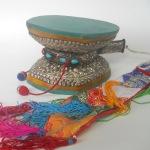 Silver & Gemstone Damaru Drum