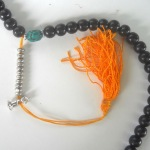 Tibetan Buddhist Black Wood Counter Mala 108 Bead Necklace w Turquoise