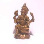 Brass Sitting Four Arm Sri Ganesh Hindu Deity Statue
