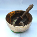 "Beautiful Golden 7"" Pema Tibetan Singing Bowl #4989"