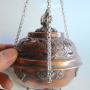 Round Hanging Tibetan Auspicious Symbol Copper Gemstone Incense Burner #S73