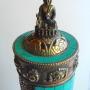 Tibetan Auspicious Symbol Copper Gemstone Buddha Incense Burner #S75