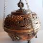 Round Hanging Auspicious Symbol Copper Gemstone Incense Burne